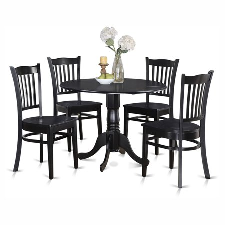 East West Furniture Dublin 5 Piece Drop Leaf Dining Table Set with Groton Wooden Seat Chairs ()