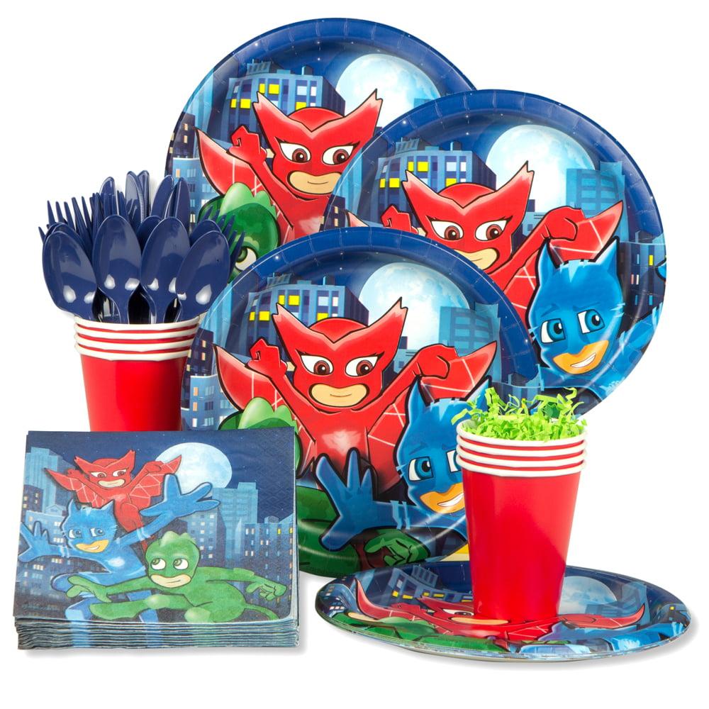 PJ Masks Party Supplies - Standard Kit - Tableware - Plates, Napkins, Cups - SERVES 8