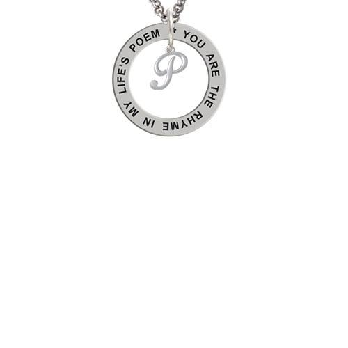 Mini Gelato Script Initial - P - Life's Poem Affirmation Ring Necklace