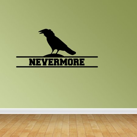 Nevermore Raven Silhouette Vinyl Wall Decals Raven Decal Edgar A ...