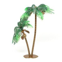"Large 5"" Palm Trees with Coconuts cake topper beach tropical party decoration Set of 4"