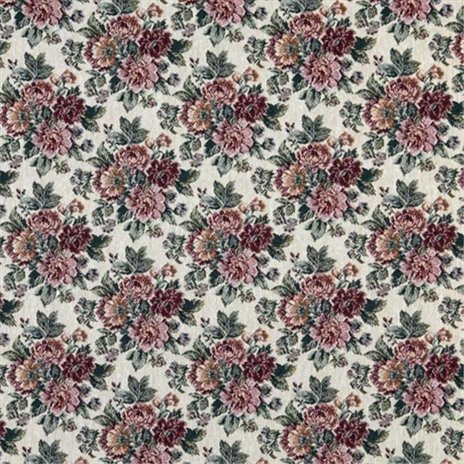 Designer Fabrics F645 54 in. Wide Red, Green And Gold, Floral Tapestry Upholstery Fabric