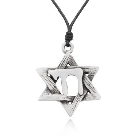 Hebrew Chi Jewish Star of David Silver Pewter Charm Necklace Pendant Jewelry With Cotton Cord Black Star Of David Necklace