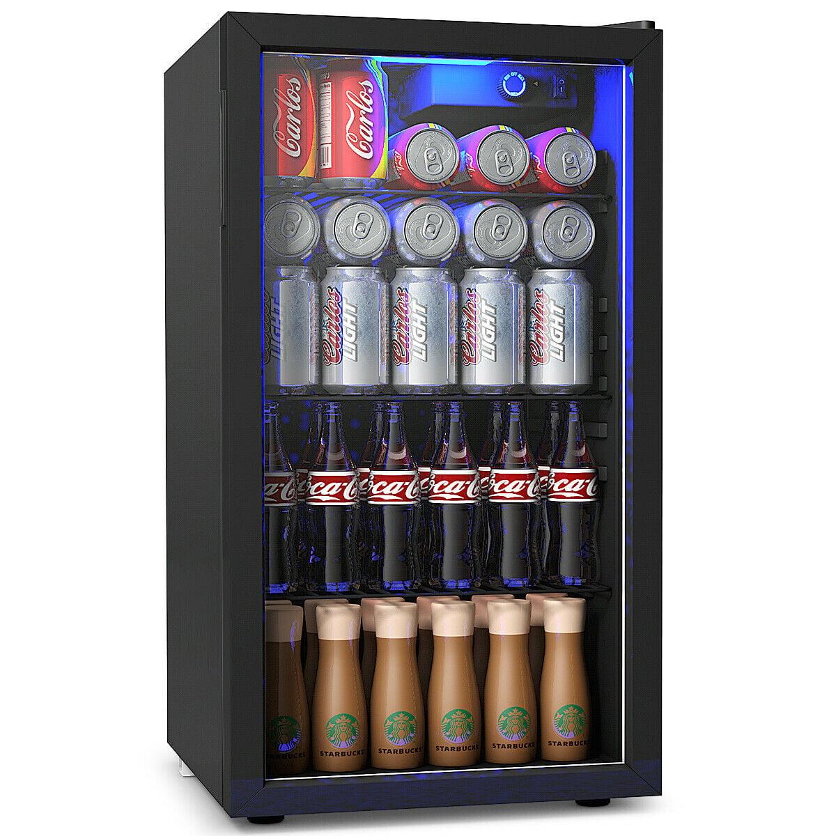 Gymax 120 Can Beverage Refrigerator Beer Wine Soda Drink Cooler Mini Fridge Glass Door Walmart Com Walmart Com