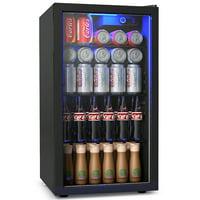 Gymax 120 Can Beverage Refrigerator Beer Wine Soda Drink Cooler Mini Fridge Glass Door