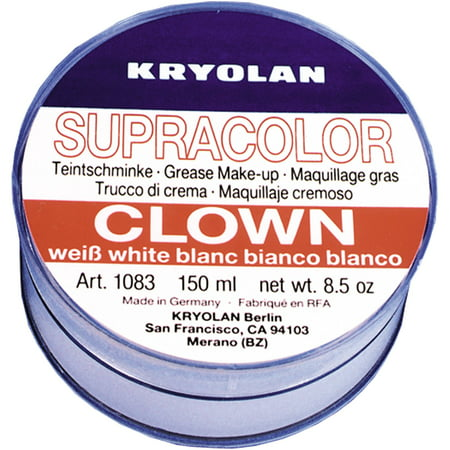 Clown White Grease Makeup 8.5-Ounce Adult Halloween Accessory - All White Halloween Makeup