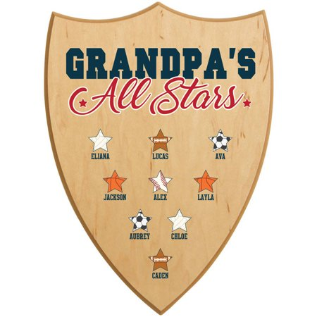 Personalized All Star Wood Shield Sign  Available In 2 Sizes