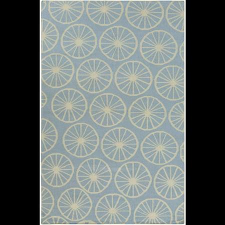 2' x 3' Dandelion Puff Nautical Blue and Khaki Reversible Wool Area Throw (Patagonia Baby Reversible Puff Ball)
