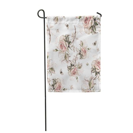 Bumble Bee Pattern (KDAGR Flower Seamless Rose Pattern and Bumble Bee 2 Floral Abstract Garden Flag Decorative Flag House Banner 28x40)