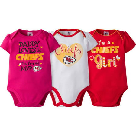 f1e2457b55d NFL Kansas City Chiefs Baby Girls Short Sleeve Bodysuit Set