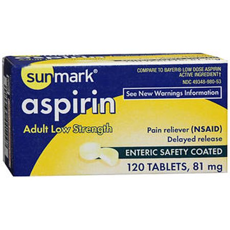 120 Enteric Coated Tablets - Sunmark Aspirin Adult Low Strength 81 mg Enteric Safety Coated Tablets - 120 ct
