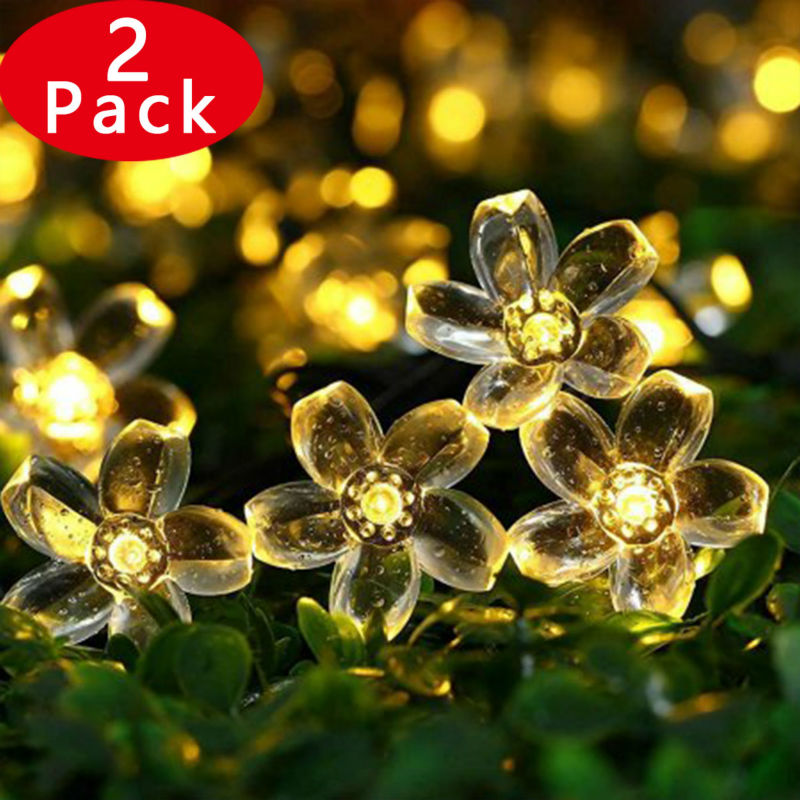 2PACK Solar String Lights, 23ft 50 LED Fairy Blossom Flower Landscape Decorative Lights For Patio, Lawn, Garden,... by Qedertek
