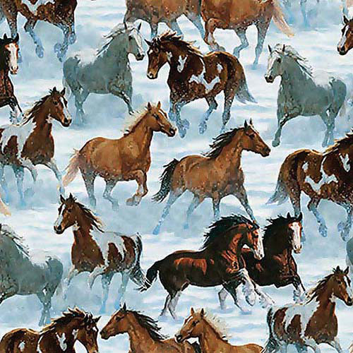 """Springs Creative Wild Wings Horse Scenic 44"""" wide Fabric by the Yard"""