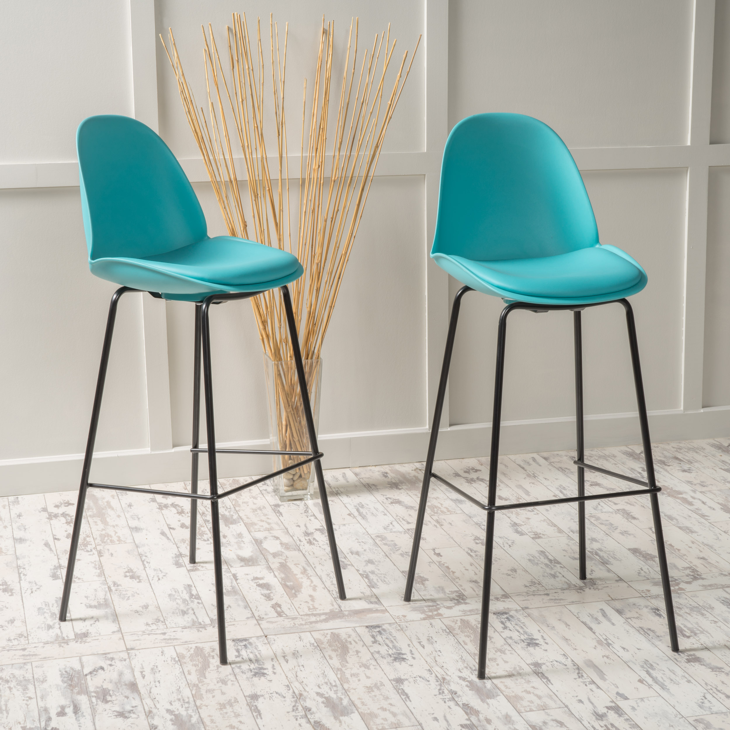 Noble House Canton Light Blue Bar Chair (Set of 2)