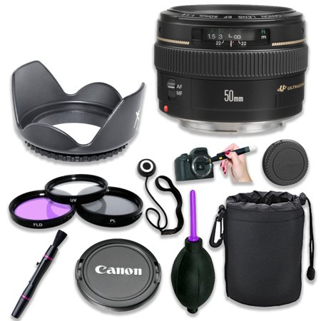 Standard Rubber Lens - Canon EF 50mm f/1.4 USM Standard & Medium Telephoto Lens for Canon SLR Cameras - Fixed with 3 Piece Filter Kit, Lens Cleaning Pen, Rubber Air Dust Blower, Hood, Pouch/Sleeve, Cap Keeper (8 Items)