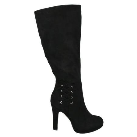 Voltage Black Suede Delicious Women Stiletto Thick High Heels Knee High Boots Platform Side Bow (Heel Platform Knee Boot)