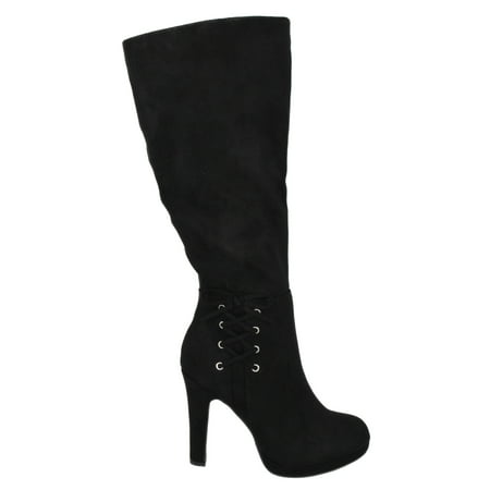 Voltage Black Suede Delicious Women Stiletto Thick High Heels Knee High Boots Platform Side Bow 11