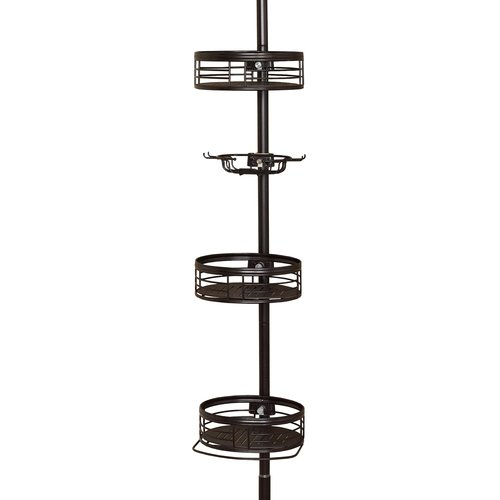 Tension Pole Corner Shower Caddy zenith 3-shelf tension pole caddy, oil rubbed bronze - walmart