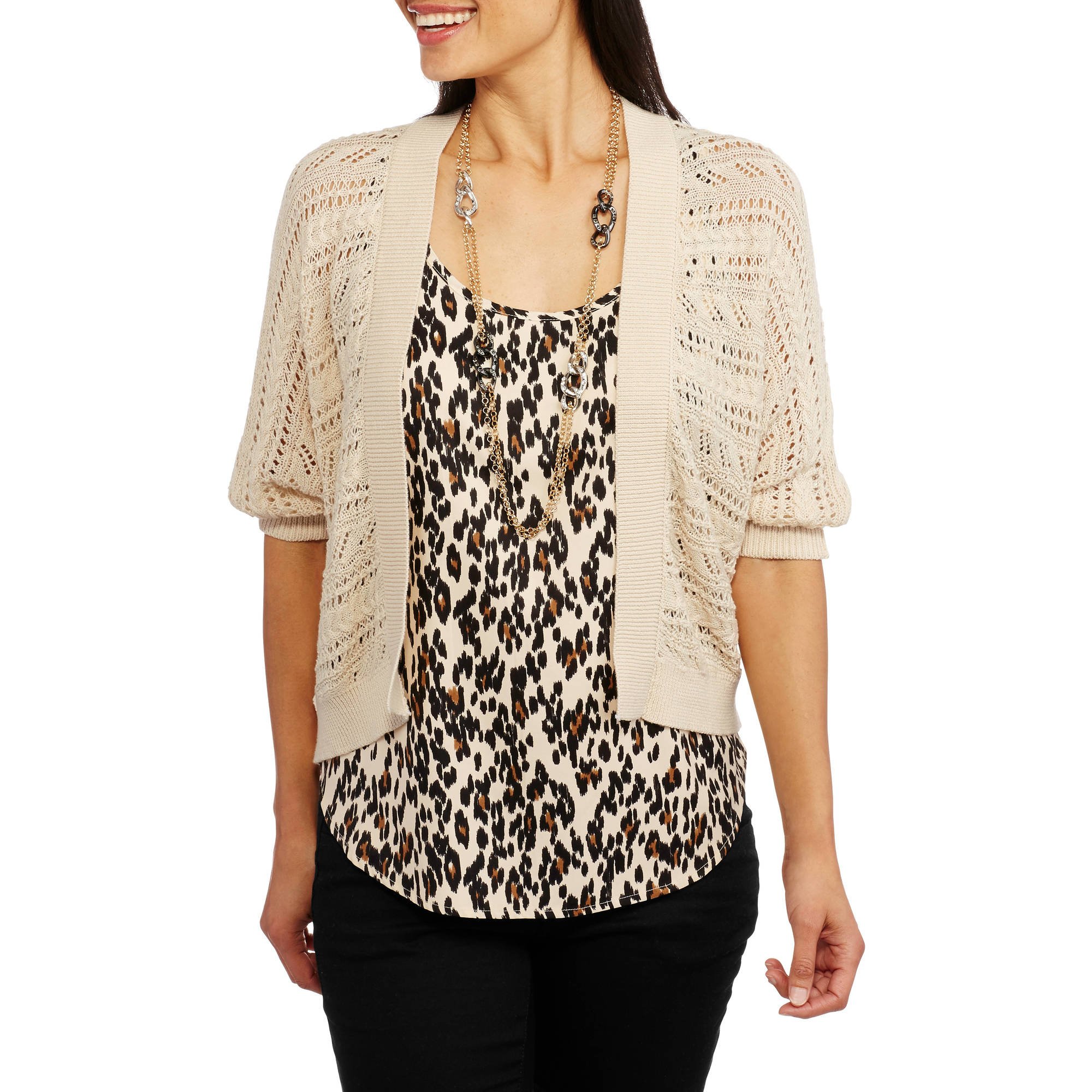 Faded Glory Women's Crochet Dolman Shrug