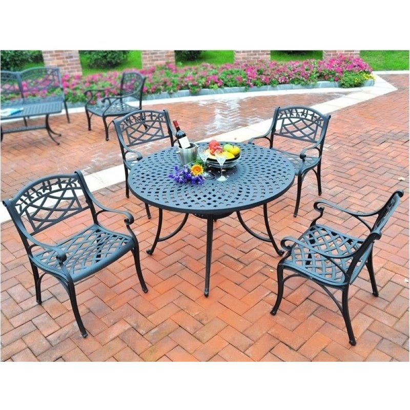 Bowery Hill 5 Piece Metal Patio Dining Set in Black