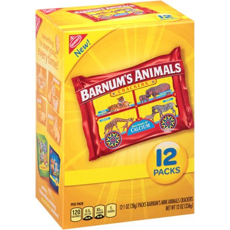 (2 Pack) Nabisco Barnum's Animals Crackers, 1 oz, 12 ct (Circus Animal Cookies)