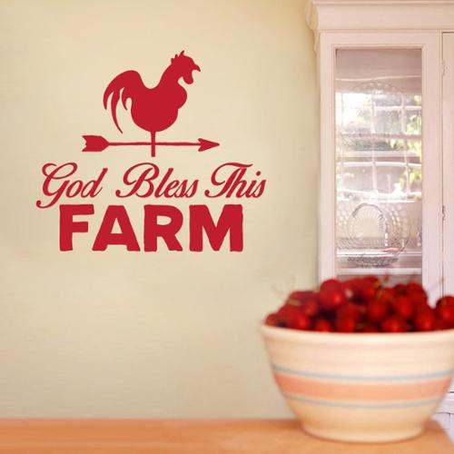 God Bless This Farm 24-inch x 22-inch Vinyl Wall Decal OLIVE GREEN