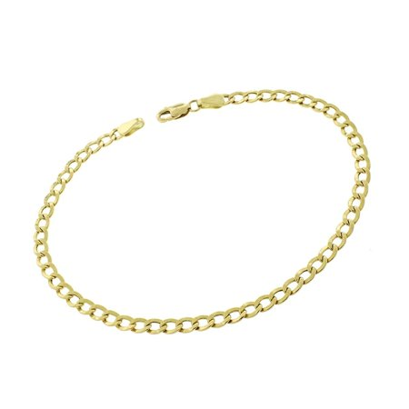 10k Yellow Gold 3.5mm Hollow Cuban Curb Link Bracelet Chain 8""