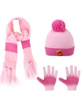 Kids Winter Knitted Set - Vbiger Knitted Hat Scarf Gloves for Kids, 3 Pieces