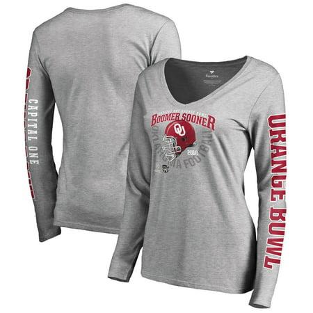 Oklahoma Sooners Fanatics Branded Women's College Football Playoff 2018 Orange Bowl Bound Cover Long Sleeve T-Shirt - Heathered