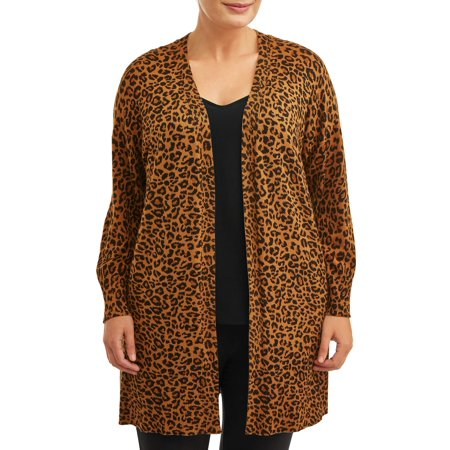 Women's Plus Size Leopard Sweater Cardigan with Pockets Plus Size Maternity Sweaters