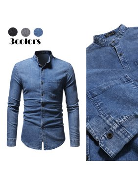 7350f67969e Product Image Fashion Men Denim Fabric Jeans Shirt Casual Long Sleeve Slim  Fit Cotton Shirts