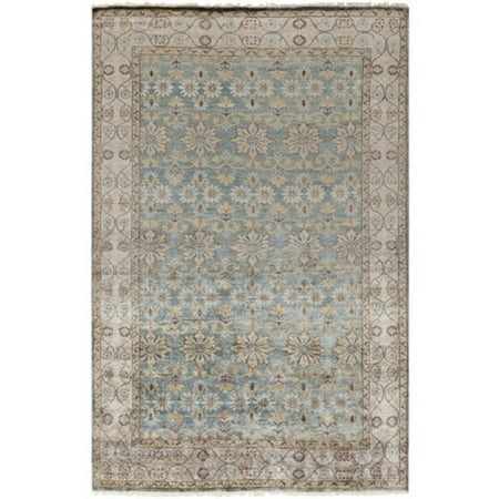 9 X 13 Justinian Garden Misty Yellow  Granite Gray And Ocean Blue Area Throw Rug