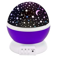 3 Colors LED Star Projector Lamp 360 Degree Romantic Rotating Night Cosmos Star Sky Moon Projector Kids Sleep Night Light For Children Gift Bedroom Decor