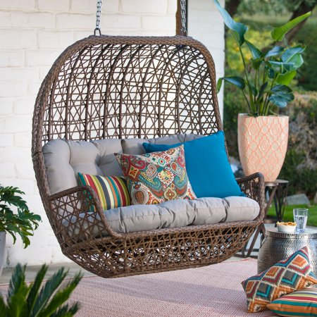 Belham Living Rayna All Weather Wicker Loveseat Porch Swing with Cushion