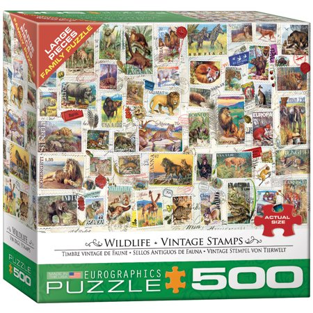Wildlife Vintage Stamps 500-Piece Puzzle](Wildlife Puzzles)