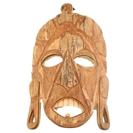 African Tribal Mask - Mask Wall Art Rustic Wooden African Tribal Natural Bark