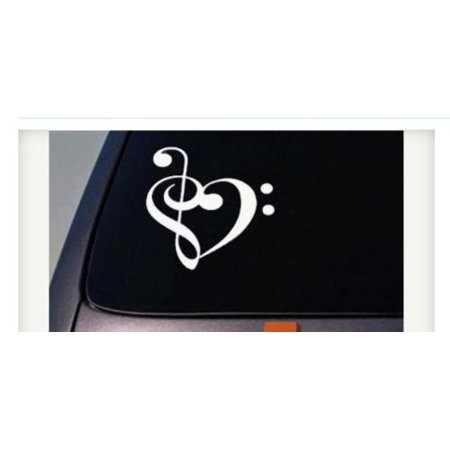 Based Mic - treble clef base clef heart decal music decal sticker singer Microphone *C543*