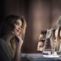 Christmas Gift-Trifold LED Lighted Makeup Mirror with 10X Magnification Dimmable Vanity Mirror Removable Base, 180° Rotatable Portable Travel Cosmetic Mirror USB/Batteries Powered Countertop Bathroom