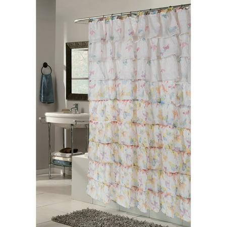 Carnation Home Fashions Carmen Ruffle Butterfly Pattern Fabric Shower Curtain