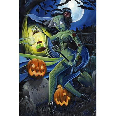 Beloved by JR Linton Halloween Zombie In Graveyard Tattoo Fine Art Paper Print for $<!---->