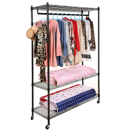 Homdox Portable 3 Tier Wire Shelving Clothes Shelf Closet Organizer Garment Rack Side Hooks Wheels