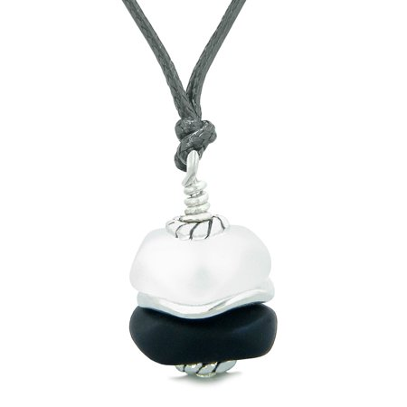- Sea Glass Icy Frosted Waves Double Lucky Black White Positive Energy Amulet Pendant Adjustable Necklace