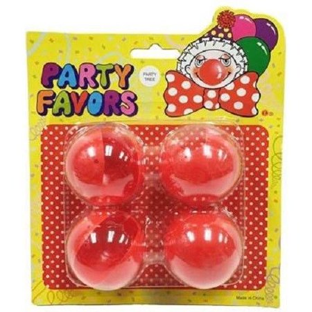Red Circus Foam Clown Nose Shappy for Halloween Party Magic Dress-up Pack of 4