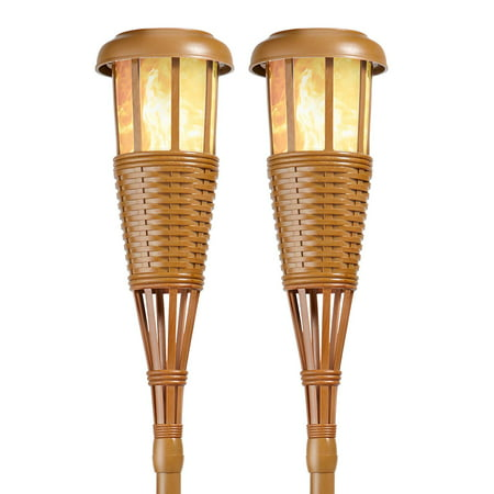 Solar Flickering LED Island Torches, Dusk-to-Dawn Dancing Flame Outdoor Landscape Lighting, Bamboo Finish, 2-Pack