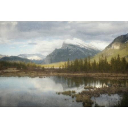 (Pinhole style of mount rundle reflecting in vermillion lakes at banff national park banff alberta canada PosterPrint)