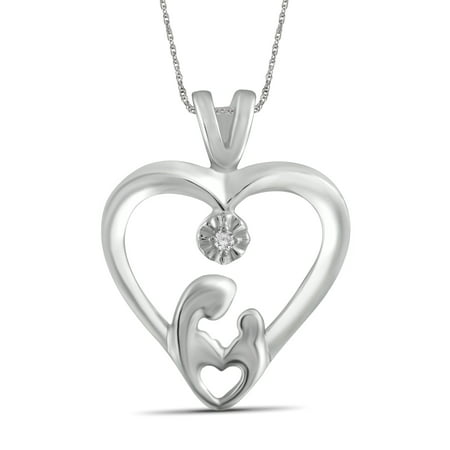 White Diamond Accent Sterling Silver Mother and Child Heart Pendant