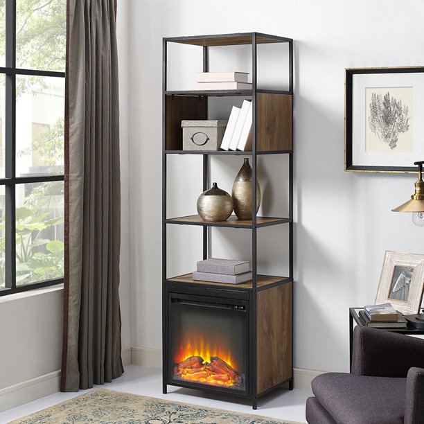 Mainstays Atmore 4-Shelf Media Tower with Fireplace
