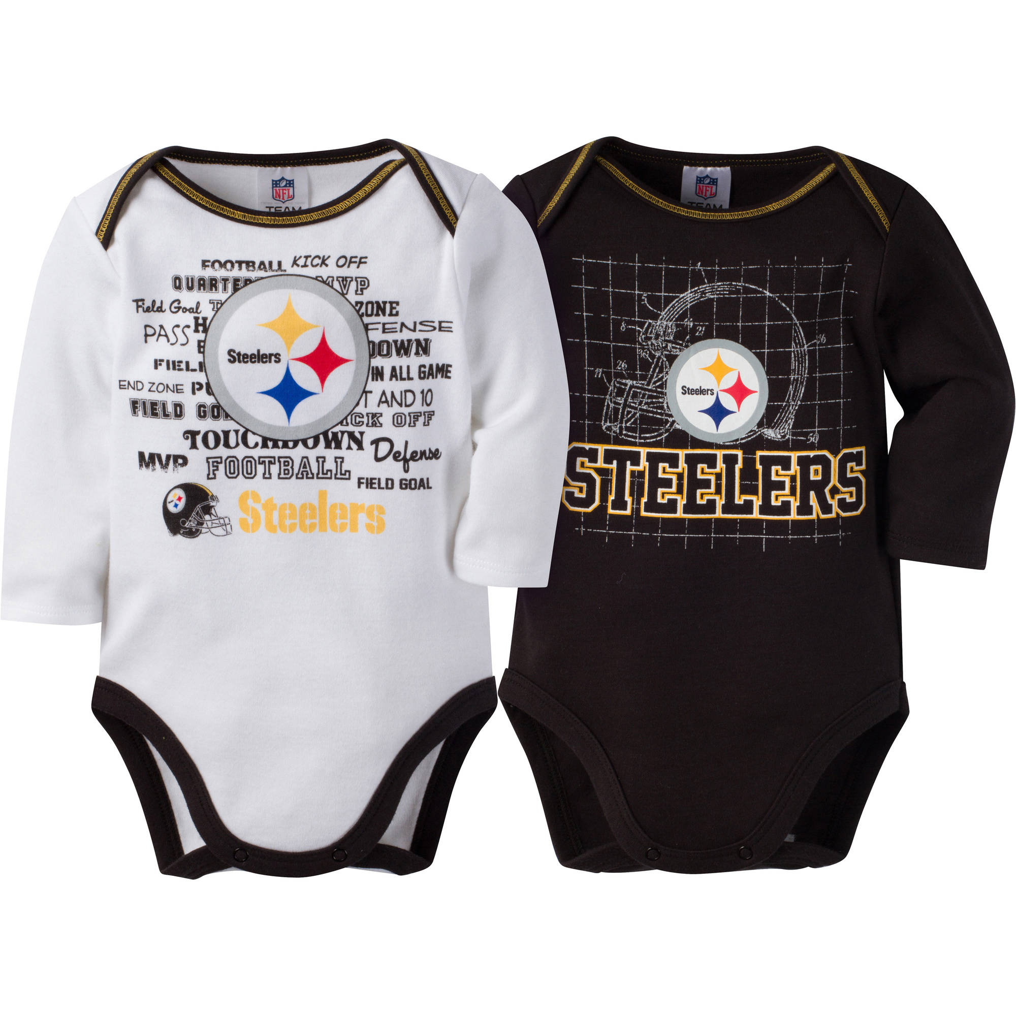 NFL Pittsburgh Steelers Baby Boys Long Sleeve Bodysuit Set, 2-Pack