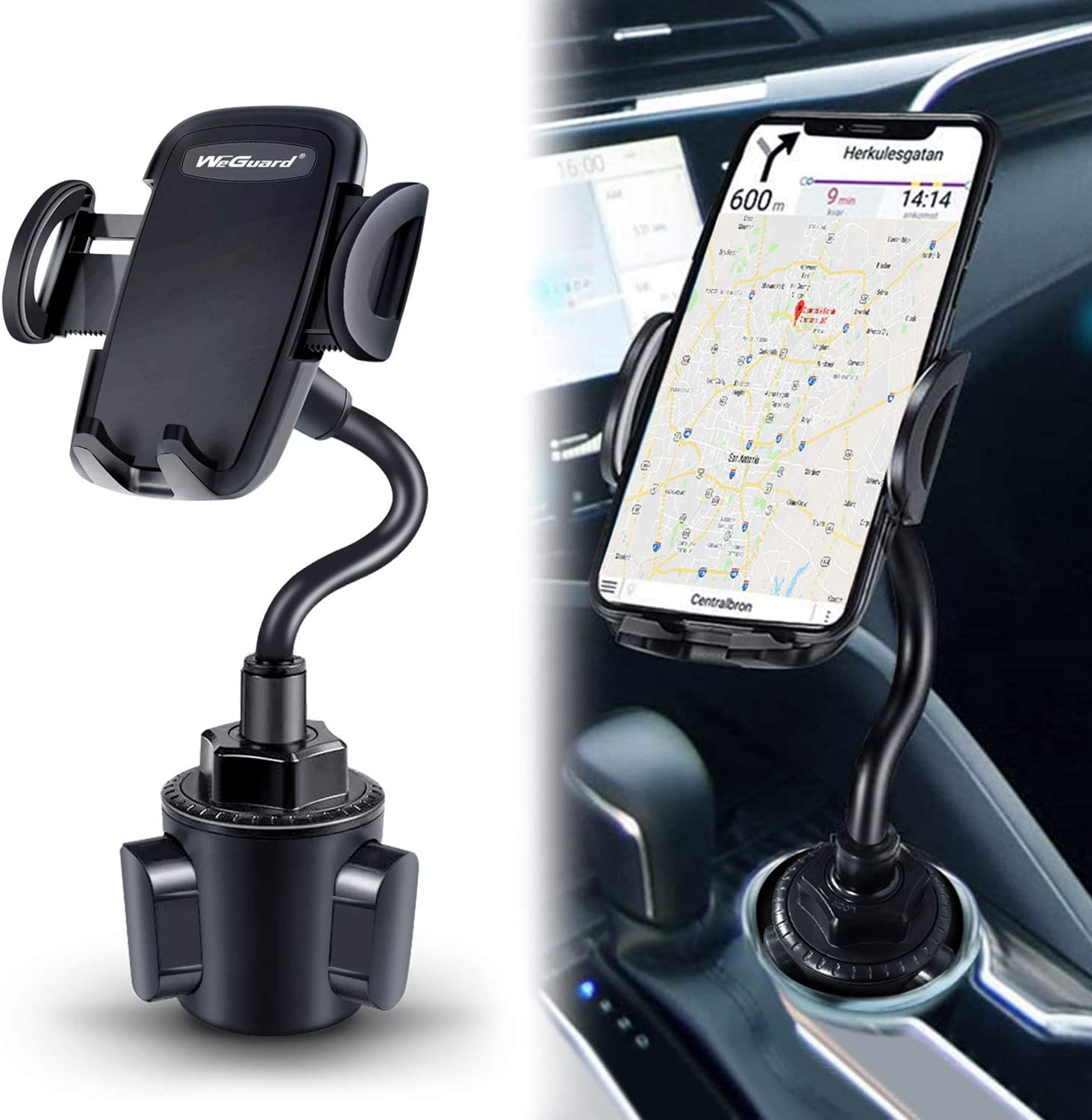 Cup Holder Phone Mount,Universal Smart Adjustable Automobile Cell Phone Mount for iPhone 11 pro//Xs//Max//X//XR//8//7//6 Plus//Galaxy S10//S9//S8 and All Smartphones Upgraded