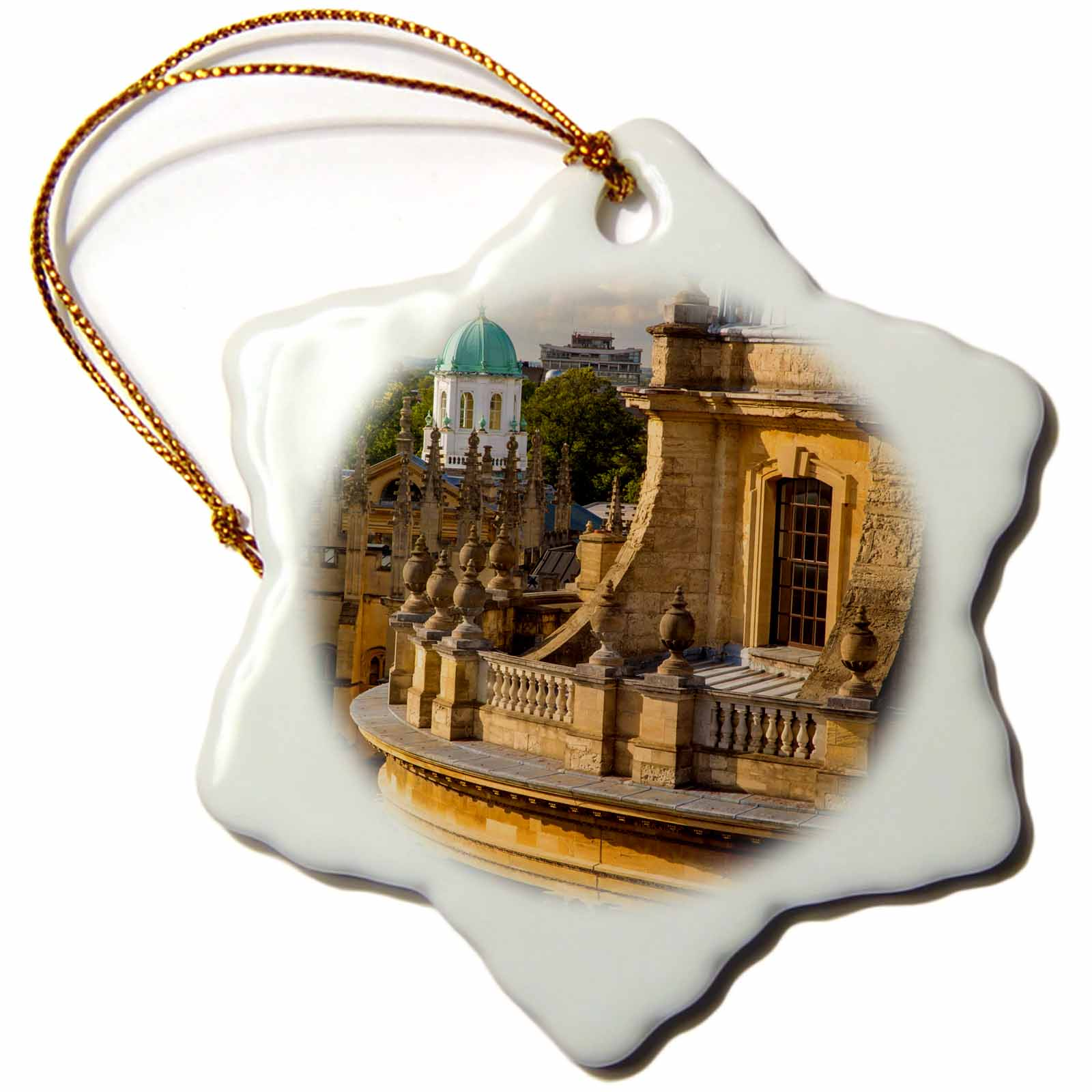 3dRose Radcliffe Camera, Science Library, Oxford, Oxfordshire, England - Snowflake Ornament, 3-inch